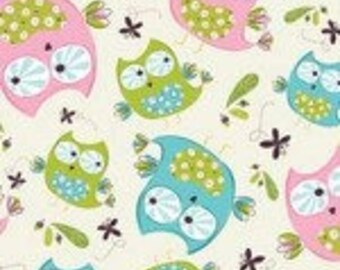 Hoot Hoot Owls Tossed Cotton Fabric By the Yard