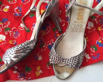 Sweet Loretta silver 80's strappy sandal