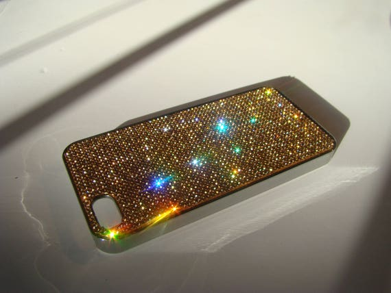 iPhone 5 / 5s /5se Gold Rhinestone Crystals on Silver Chrome Case. Velvet/Silk Pouch Bag Included, Genuine Rangsee Crystal Cases.