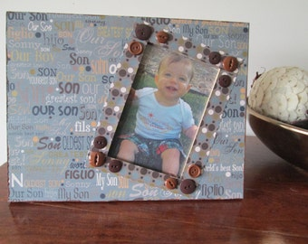 4x6 Son Themed - Hand Decorated Picture Frame