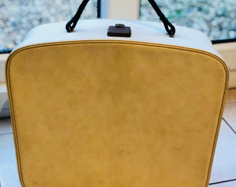 Cream Cheney soft top over night Suitcase 1950's