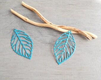 Set of 2 prints turquoise filigree leaves