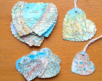 Travel Theme Gift Tags - Heart Shaped World Map Gift Tags - Atlas Birthday / Wedding Gift Tags - Favour Tags - Party Tags