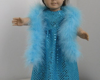 Doll Clothe Made to fit American Girl Dolls, Turquoise Sparkle Dress and Boa Fits AMERICAN GIRL DOLLS