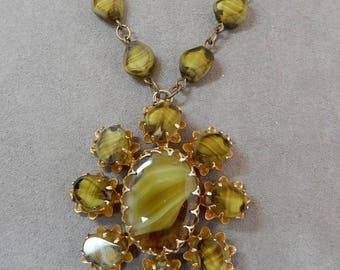 W. German Green Givre Art Glass Pendant Necklace    OER59