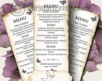 VIOLET HYDRANGEA Wedding Menu, Printable Digital Images, Weddings, Parties, Bridal Shower, Baby Shower, Birthday, Wedding Decorations