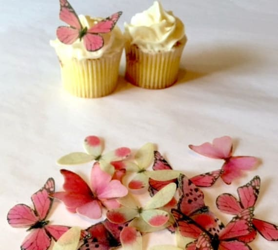 The Original EDIBLE BUTTERFLIES - Small Assorted Pink - Cake & Cupcake toppers - Food Decoration