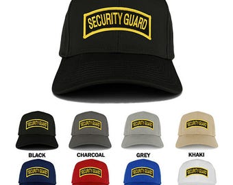 Security Guard Tab Embroidered Iron on Patch Adjustable Baseball Cap (27-079-PM3412)