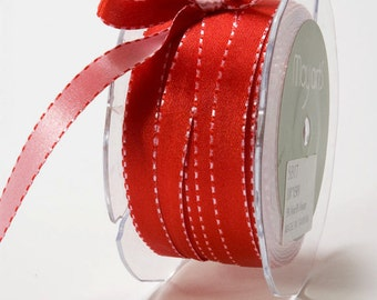 3/8 Inch – SATIN/REVERSIBLE/stitched edge. red and pink ,reversible satin ribbon