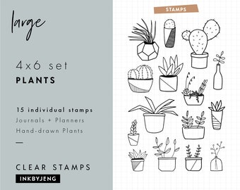 STMP-4X6-042 - Plants | 4x6 | Planner, Journal, and Scrapbooking Clear Stamp Kit