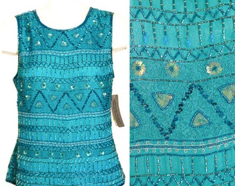 Teal beaded and sequined sleeveless top by Adrianna Papell NEW with tags