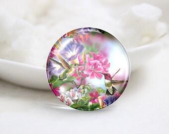 Handmade Round Photo Glass Dome Cabochon-Bird (P3020)