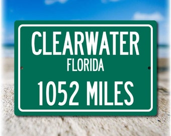 Personalized Highway Distance Sign To: Clearwater, Florida - Sugar White Sand