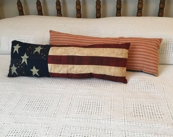 Primitive Patriotic Pillow /Handmade/American Flag Pillow/Farmhouse pillow/ Quilted Pillow/ Patriotic/ Farmhouse Style