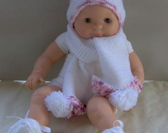 SET scarf and hat baby pink and white