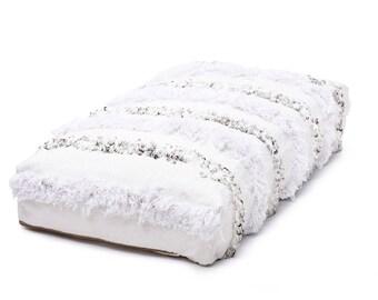 Moroccan Pouf, Floor Cushion, Handira Pouf Ottoman, Floor Pillow, Refashioned from a New Berber Wedding Handira Blanket. PNH006