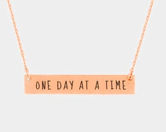 One day at the time steinless bar pendant necklace