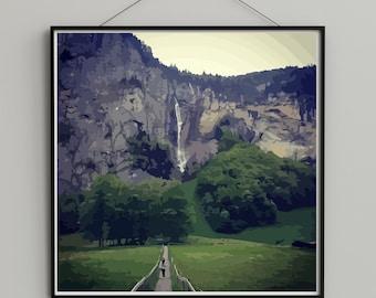 Swiss Countryside - Switzerland Mountains - Switzerland Print - Travel Art