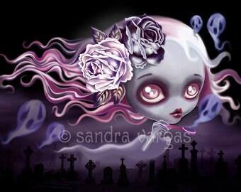 Ghostly Luna 8 x 10 Print Digital Illustration by Sandra Vargas