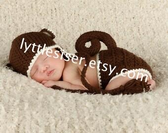 Newborn Monkey Hat,Diaper Cover