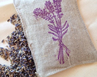 Made in Vermont! Original hand printed lino cut block print on a hand made linen lavender sachet! Perfect Valentine's day gift!