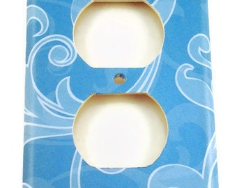 Wall Decor Blue Switchplate Single Outlet  Light Switch in  Cool Breeze (129O)