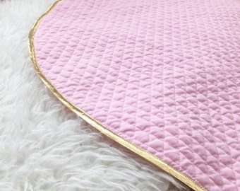 Handmade Baby Mat - Pink & Gold Mat - Round Baby Play Mat - Lightly Padded Mat - Play Mat Gift - Baby Nursery Decor- Photo Prop - Baby Gift