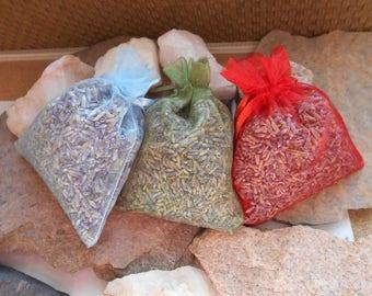 Lavender Sachets/3 Pack Lavender Sachets/Dried Herbs/Dried Lavender/Bedtime Sachets/Bath and Beauty Sachets/Drawer Sachets/Bathroom Decor