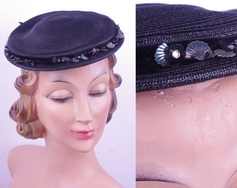 Black 50s Christine Original NY Day Hat // 1950s Black Hat // Vintage Day Hat