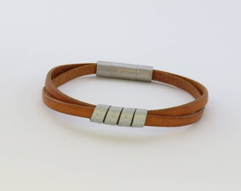 Mens personalized, engraved bracelet, Secret Message, Leather Bracelet, Gift for father, Gift for him, Personalized gift, Anniversary gift