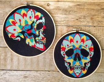 Mandala Skull Cross Stitch Pattern Bundle - TWO PDF DOWNLOAD