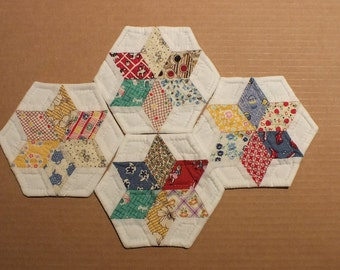 Hand Pieced Hand Quilted Coasters with Reproduction Feedsack Fabric
