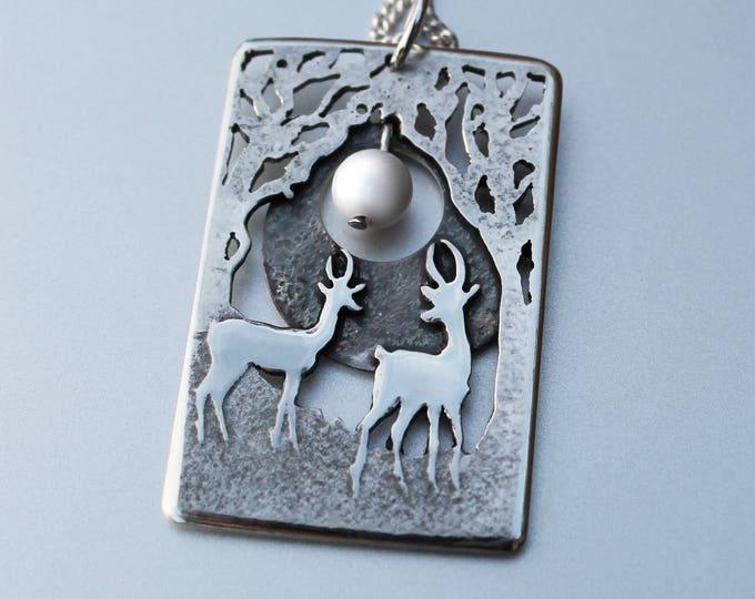 Silver Tree Pendant, 'Gazelle Moon', silver jewelry