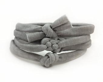 Grey Linen Bow, Baby Knot Headband, Skinny Headband, Celtic Knot Headband, Sailor Knot Headband, Top Knot, Infant Headband