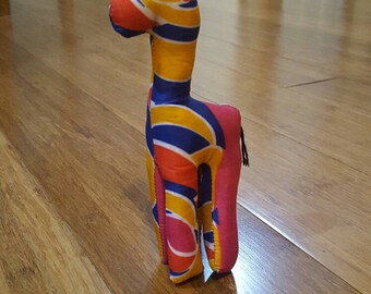 African Stuffed Giraffe pink, blue, yellow, toy