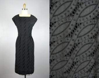 Vintage 1950s Black Cotton Eyelet Dress 50s Cotton Lace Wiggle Dress by R and K Originals Size S/M