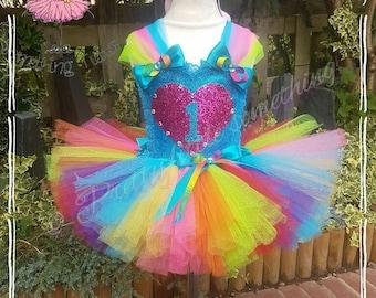 1st birthday, rainbow tutu dress, party dress, birthday tutu outfit