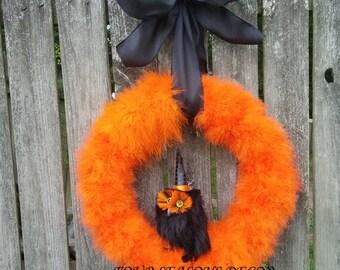 Halloween Wreath, Halloween Owl Wreath, Owl Wreath, Orange Feather with Black Owl Halloween Wreath, Feather Boa Wreath