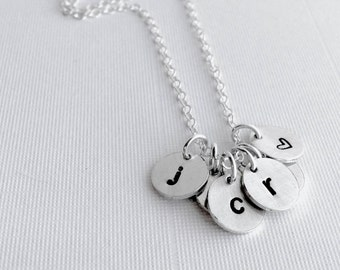 Multiple Initial Necklace / Personalized Mother's Necklace / Mom Initial Charm Jewelry / Custom Necklace for Mom / Lower Case Letter Charms