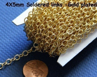 10f Gold plated round cable chain 4X5mm - Soldered Links