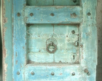 "Door Photography, Old Door Art, Architecture Photo, Aqua Blue Rustic Decor, Shabby Aqua Door Photo, Farmhouse, Savannah Art- ""Aqua Amour"""
