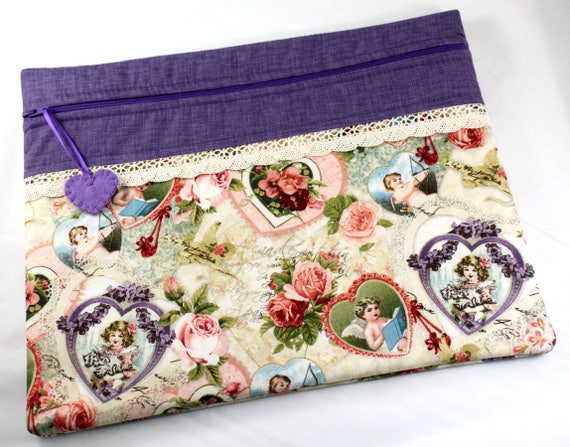 Valentine Vintage Hearts Cross Stitch Embroidery Project Bag