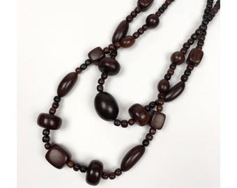 Dark Brown Wooden Bead Necklace + Vintage Wooden Minimalist Necklace + Double Strand Necklace + Long Necklace + Large Wooden Beads +