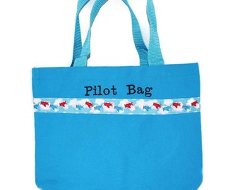 Airplane Tote Bag with Monogram Name Embroidered on it, Personalized Bag, Swin Bag, Toy Bag, Boy Tote Bag