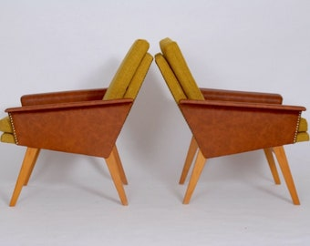 Czech brusel style retro armchairs from 1970 from Czechoslovakia. Properly renovated.