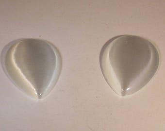 Drop 30mm white cat eye glass cabochon