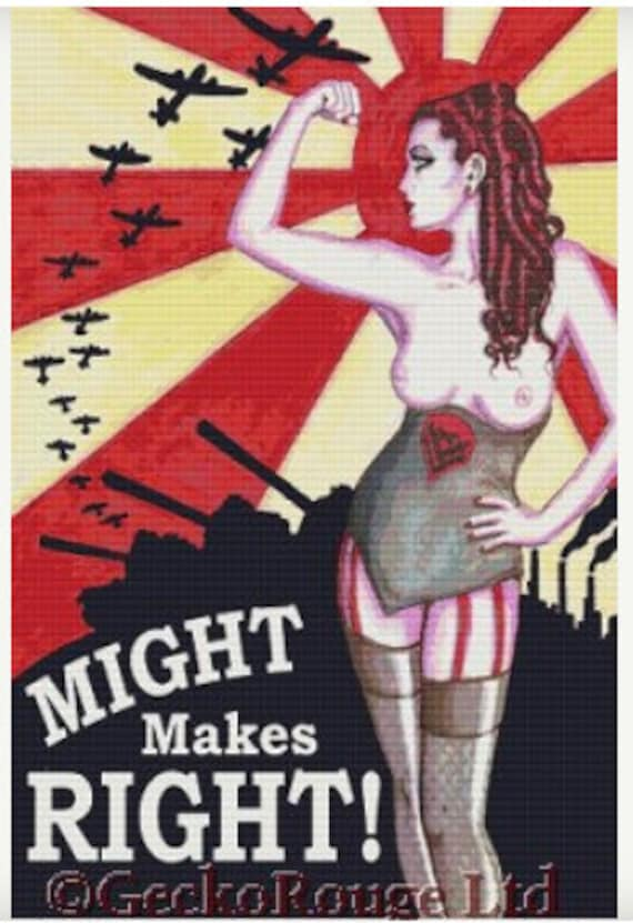 EXTRA LARGE Nude CrossStitch, Naked, Cross stitch by Shayne of the Dead 'Might Makes Right' - Mature Content cross stitch kit