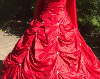 Red Quinceanera Dress-Quinceanera Gown- Custom-made Quinceanera Dress- Strapless Quinceanera Dress