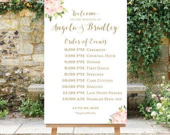 Order of Events Sign Wedding Schedule Blush Pink Flowers Printable Wedding Timeline Poster Floral Wedding Digital File, Printable The Bella