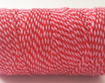 Cherry Red & Candy Pink 2mm Cotton Bakers Twine *Sold Per 5mtr*